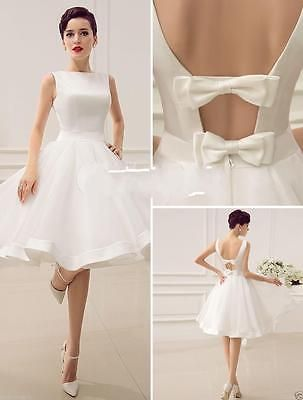 New White Ivory  Wedding Dress Tea Length Beach Custom Bridal Gown Custom Size in Clothing, Shoes & Accessories, Wedding & Formal Occasion, Wedding Dresses | eBay