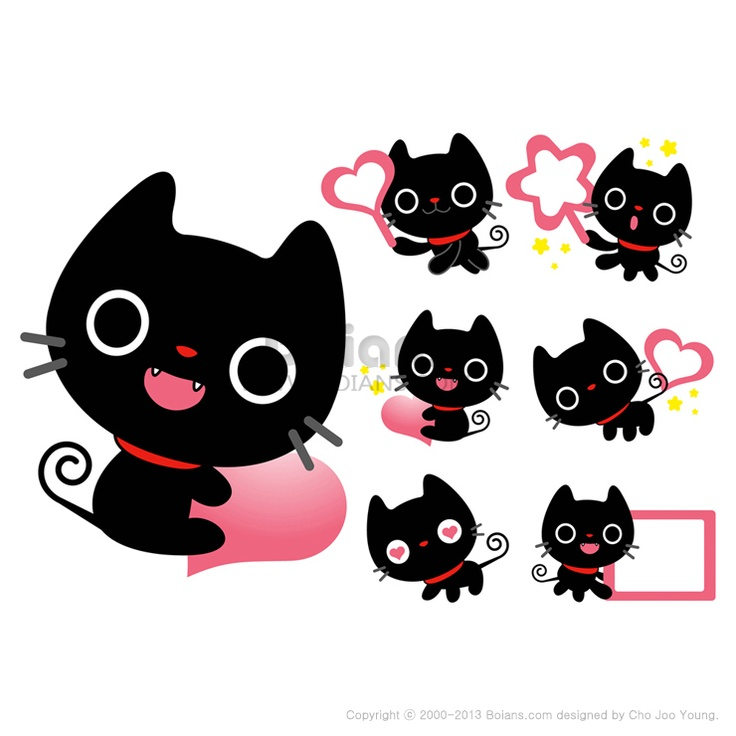 다양한 활용이 가능한 검은 고양이 마스코트 세트, 동물 캐릭터 디자인 시리즈, (BCDS010495)  Flexibility as possible a set of Black Cat Mascot, An animal Character Design Series, (BCDS010495)  Copyrightⓒ2000-2013 Boians.com designed by Cho Joo Young.