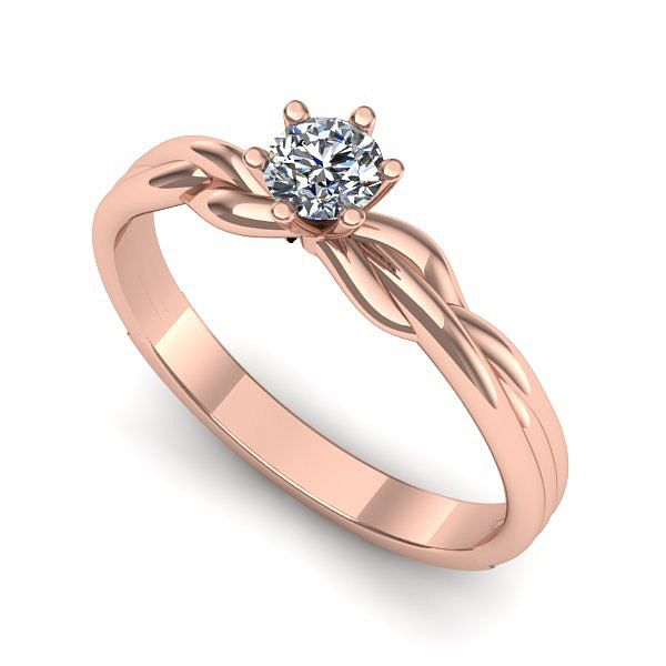 Inelul este realizat din aur roz 14k, greutate: ~1.70gr. Produsul are in componenta sa: 1 x diamant, dimensiune: ~3.00mm, greutate: 0.10ct , culoare: G, claritate: VS2, forma: round