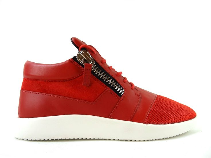 Sneakers Giuseppe Zanotti - Za Running Zip H en cuir, nubuck et toile rouge