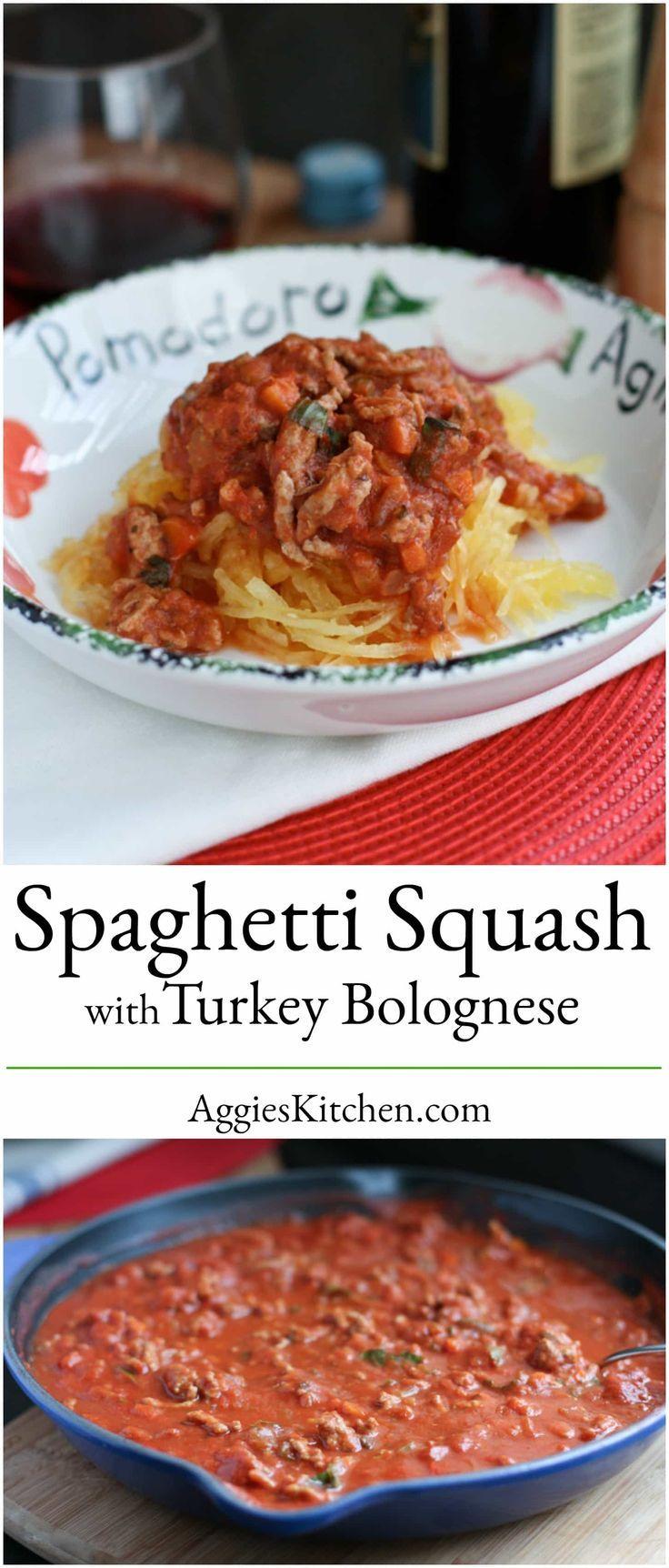 Spaghetti Squash with Turkey Bolognese from Skinnytaste is hearty, light and delicious and will be loved by everyone at your table. via @aggieskitchen