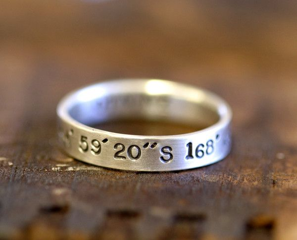 Personalized band sterling silver by Monkeys Always LookKids Births, Wedding Ring, Good Ideas, Band Sterling, Personalized Band, Latitude Longitude, Sterling Silver, Wedding Bands, Jewelry Rings