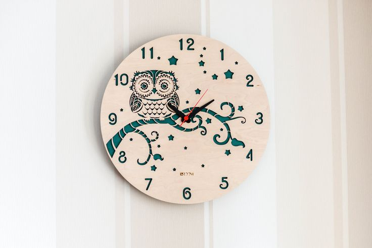 """Modern Wall Clock """"OWL"""",  Large Wall Clock, Wooden Clock, Wood Decor, kids clock, wood, plywood, interor decor, handmade, Hermle, Green by Lines4room on Etsy"""