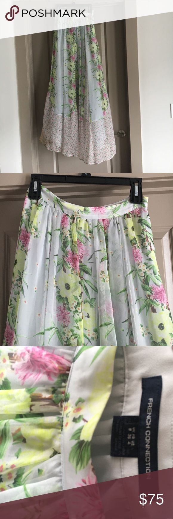 French connection maxi skirt.  Size 4 This beautiful maxi skirt is perfect for summer!  Looks great with a cute little crop top. French Connection Skirts Maxi