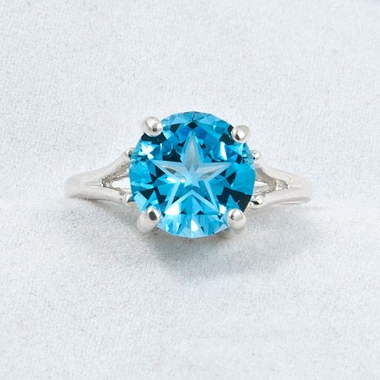Puretexan Com Sterling Silver 10mm Star Cut Blue Topaz Ring Texas