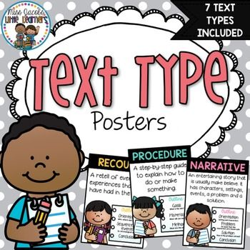 Text Type Posters Included in this pack are 7 various text type posters. Narrative Recount Procedure Exposition & Persuasive Information Report