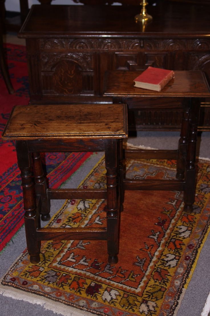Pair late 17th century oak joint stools. Circa 1680. www.robinwheatley-antiques.co.uk