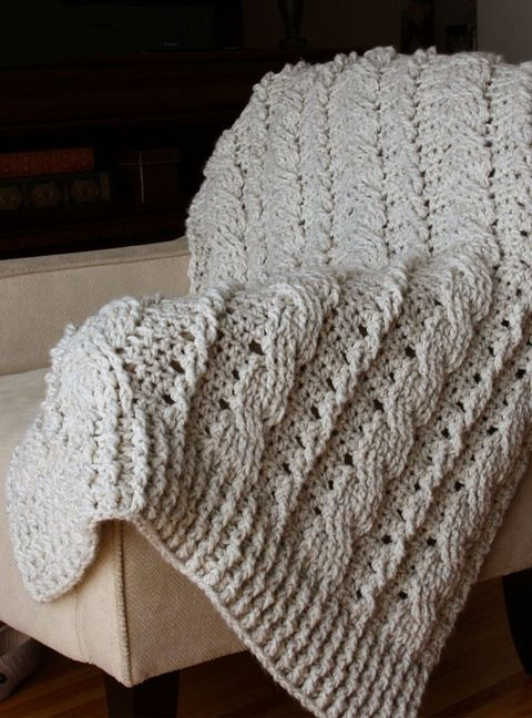 CHUNKY CABLES DECORATIVE THROW - a crochet pattern by KIM MILLER...