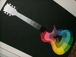 Creative Color Wheel; you can buy poster board cut outs of guitars cheap at oriental trading