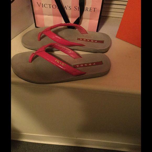 Authentic Prada Flip Flops Very cute comfortable *Worn In* Prada flip flops*need to be cleaned* Prada Shoes Sandals