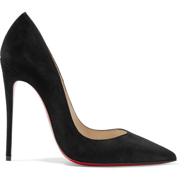 Christian Louboutin So Kate 120 suede pumps ($530) ❤ liked on Polyvore featuring shoes, pumps, suede pumps, black pumps, black pointed-toe pumps, high heel stilettos and high heel shoes