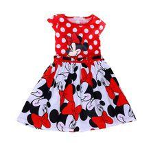 Niñas Ropa de Verano 2016 Vestido de la Historieta de Minnie Niños Ropa Niños Vestidos para Niñas de Moda Lindo Bebé Vestido Tutú Rojo(China (Mainland))