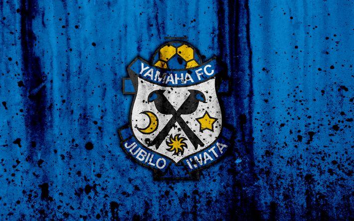 Download wallpapers FC Jubilo Iwata, 4k, logo, J-League, stone texture, Japan, Jubilo Iwata, soccer, football club, Jubilo Iwata FC