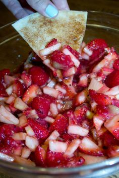 Fruit Salsa w/ cinnamon chips this is an old Pampered Chef recipe I've been looking for. It's yummy!