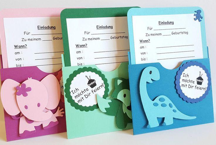 *Einladungskarten*Kindergeburtstag*5 Stück*Handgemacht*versch. Motive und Farben*Basteln*Scrapbooking*Dino, Elefant, Fuchs