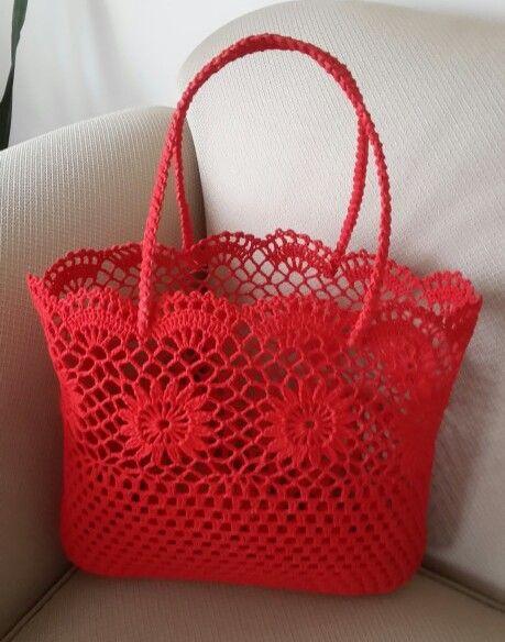 kırmızı renk tığ işi kolalı el çantası modeli - Kadınlar Sitesi