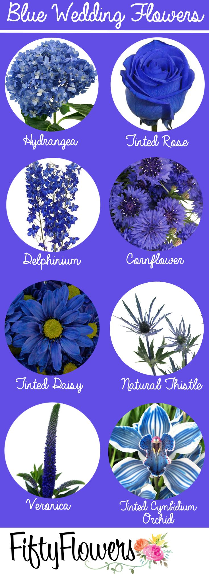 "Find your ""something blue"" at FiftyFlowers.com!"