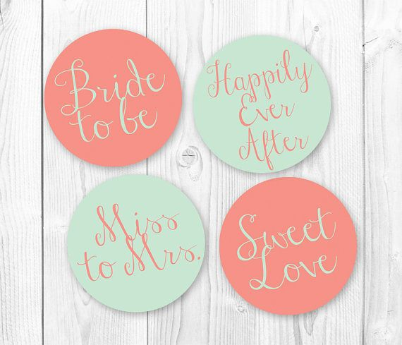 Bridal Shower Cupcake Toppers - Mint & Coral. DIY ...