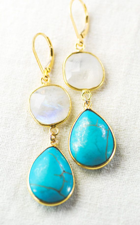 Aina earrings - moonstone turquoise gold earring, aqua white drop earring, blue dangle earring, wedding jewelry,  bridesmaid earring, hawaii, kealohajewelry https://www.etsy.com/listing/182356670