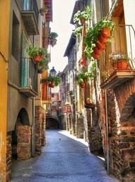 The beautiful architecture and colours of homes in Spain.
