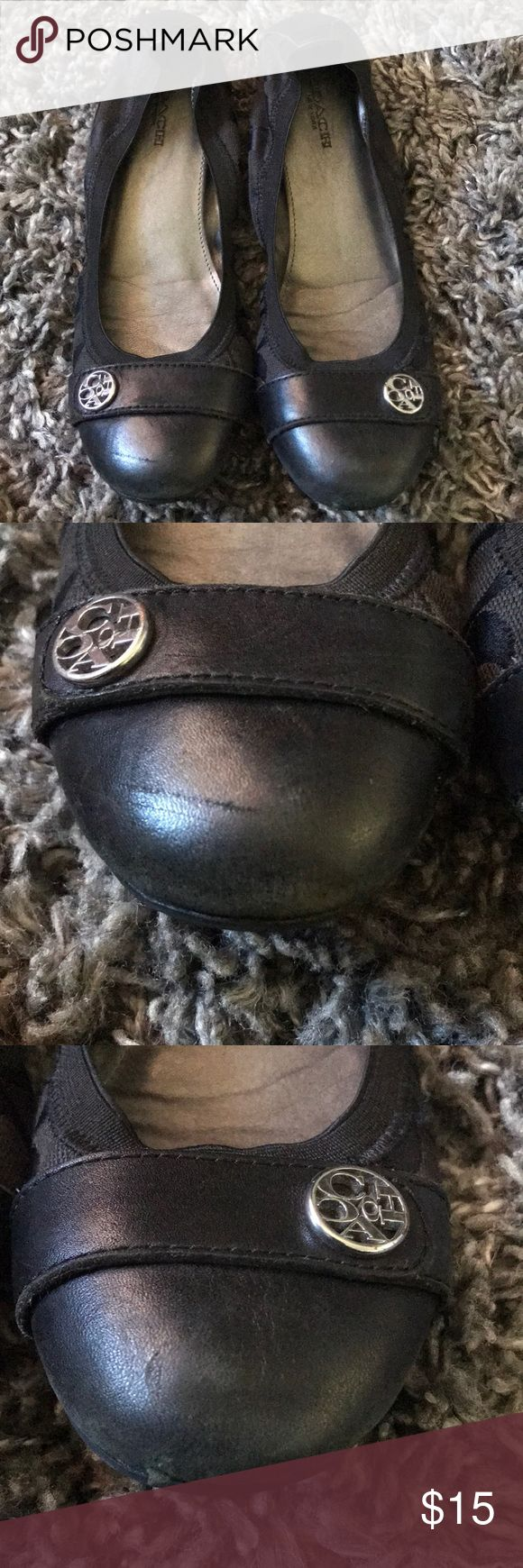 *Used*Coach Flats Sz 6.5 womens Black Coach Flats with silver metal coach emblem. Flats have part leather and fabric. Please refer to pictures for more details. Coach Shoes Flats & Loafers