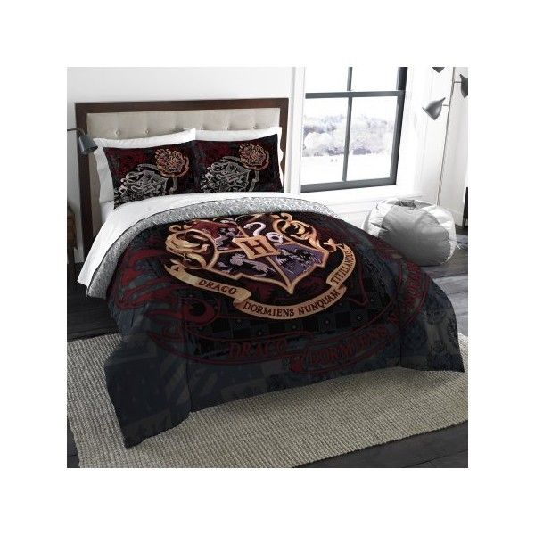 Harry Potter School Motto Twin/Full Bedding Comforter Set Comes with... ($35) ❤ liked on Polyvore featuring home, bed & bath, bedding, comforters, twin comforter, twin bed linens, twin comforter sets and twin bedding