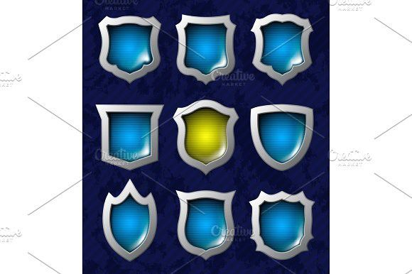 Set of shiny shields. Illustrations