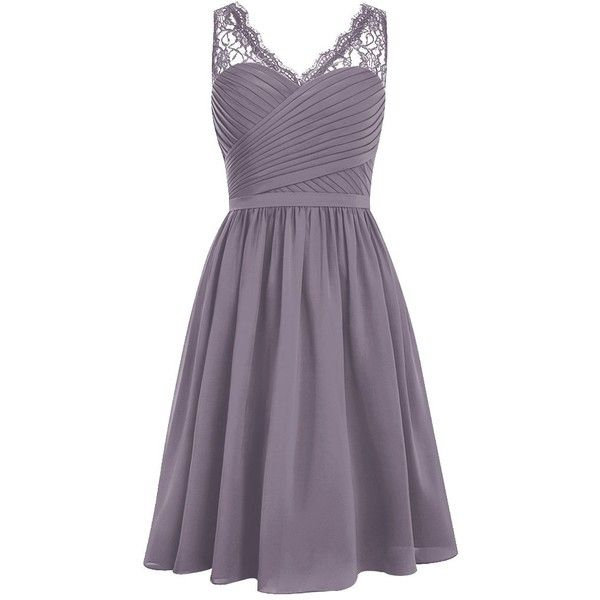 Dresstells Short Homecoming Dress V-neck Ruched Chiffon Bridesmaid... (£46) ❤ liked on Polyvore featuring dresses, purple dress, purple bridesmaid dresses, purple chiffon dress, purple cocktail dresses and chiffon bridesmaid dresses
