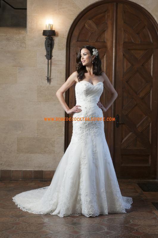 Belle robe de mariée bustier A-line avec traîne 2013 appliques organza