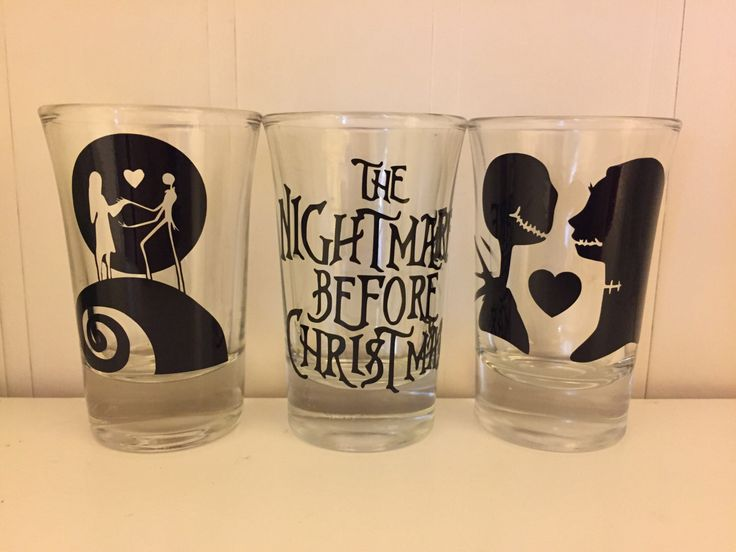 Set of 3 nightmare before Christmas shot glasses by SweetheartsSouthern2 on Etsy https://www.etsy.com/listing/492505013/set-of-3-nightmare-before-christmas-shot