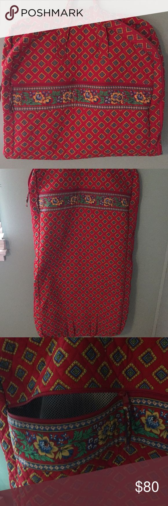 Vera Bradley garment bag Vera Bradley garment bag in Villa Red. Exterior zipper pocket. Folds in half for easy carrying with two handles. Perfect condition. Vera Bradley Bags