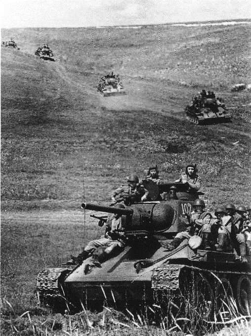 World War II. Russian T-34 tanks before the Battle of Kursk in 1943. The victory in the battle gave the Soviet Red Army the strategic initiative for the rest of the war. More