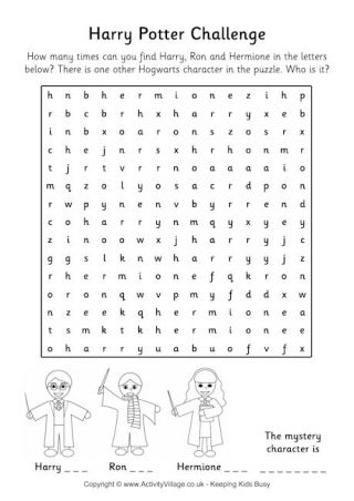 Younger Harry Potter fans can have a go at our maze printables, while older kids might enjoy the challenge of a word search or two! From Activity Village