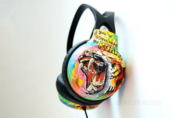 Custom Hand Painted Headphones  Lion and Tiger by atelierChloe
