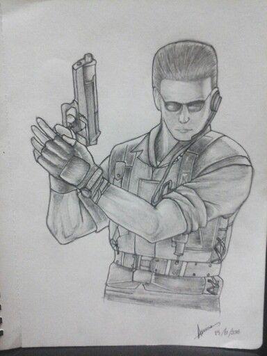 My very first drawing of Albert Wesker, by Blue Wesker on Pinterest. #fanart #albertwesker #residentevil