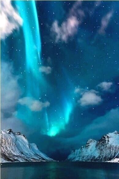 Blue northern lights iceland