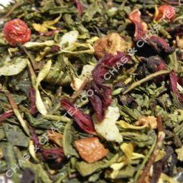Redcurrant » Té verde Sencha Bio, manzana, hibisco, albahaca, grosellas, jengibre y pétalos de flores.