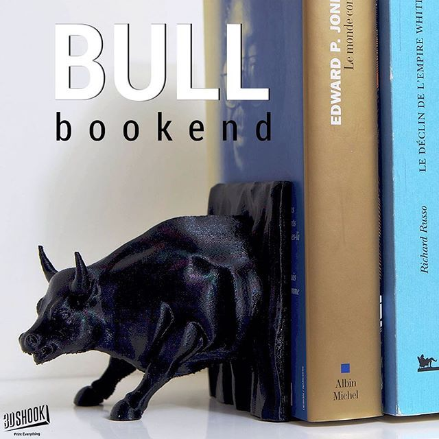 """@3dshook's photo: """"Raging bull bookend - guaranteed to hold your books together!  Check us out at www.3dshook.com #3dprint #3dmodels #3dprinted #3dprinter #3dprinters #3dprinting #makers #makersgonnamake #PrintEverything #tech #technology #books #booklover #geek #design #cool #decor #bookend #library #bull #3dshook"""""""