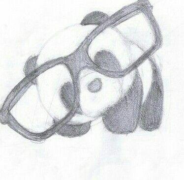 Cute panda with glasses