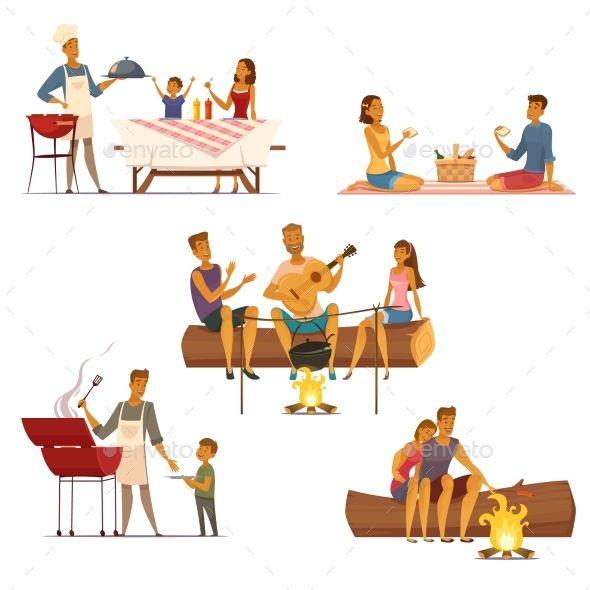 Barbecue Picnic Retro Cartoon Icons Set