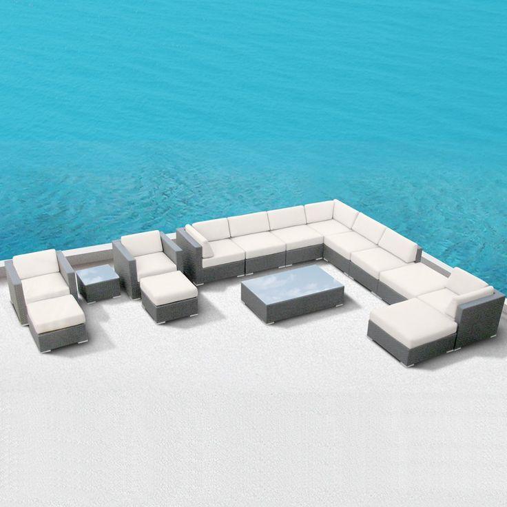 Luxxella Patio Bella 15pcs Outdoor Furniture All Weather Wicker Couch Sofa Set (Off White)