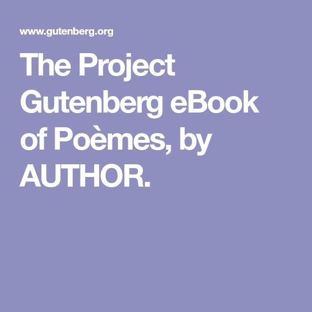 The Project Gutenberg eBook of Poèmes, by AUTHOR.
