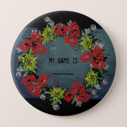 "Wreath ""Triple Flower"" Flower Floral Vector Button - accessories accessory gift idea stylish unique custom"