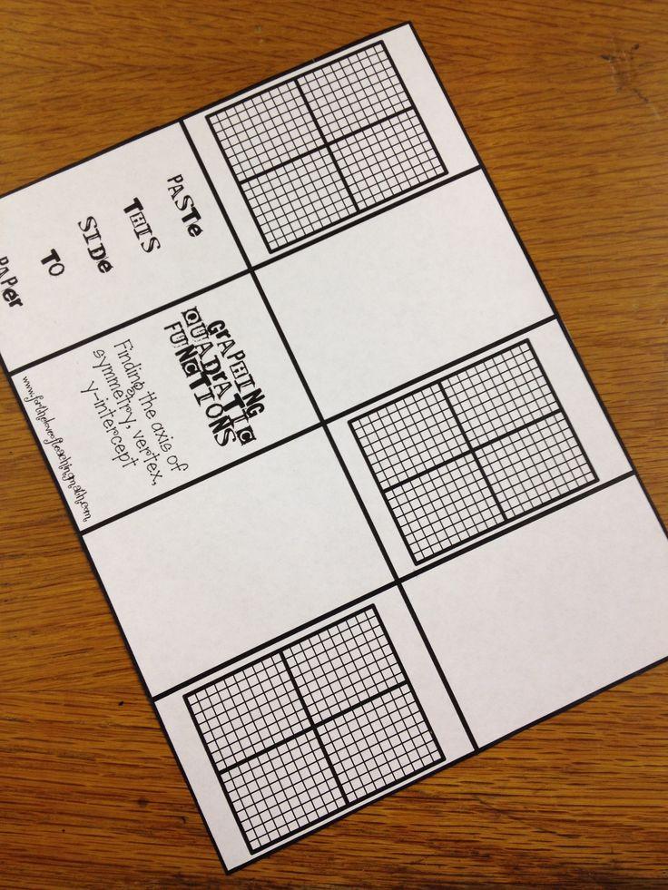 Graphing Quadratic Functions Mini Book Freebie