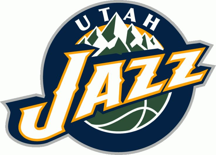 Utah Jazz Primary Logo (2011) - Jazz in white in front of green mountains on a blue circle