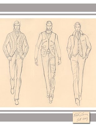 Sketches from fall 2009 Ralph Lauren men's fashion show