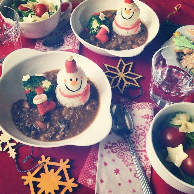 santa snowman curry and rice
