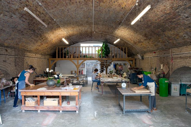 Turning Earth Ceramics, Whiston Road, London in a railway arch