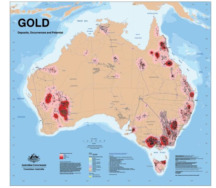 This map shows the known gold deposits in Australia. Payable gold was first discovered in Australia in 1851 near Bathurst in New South Wales which triggered the beginning of the Australian gold rush. Gold was found 6 months later in Ballarat & Bendigo, and eventually in all states and territories of Australia.