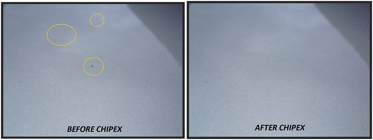 Darren's Ice Silver Audi A3s Chipex touch up paint before & after shots.
